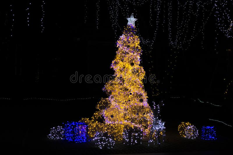 Merry chritsmas and happy new year night light. Happy new year Bankok thailand stock image