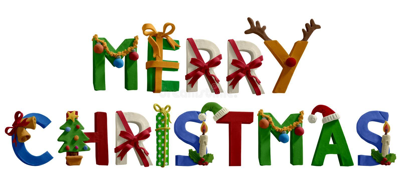 Merry Chritsmas text. Christmas Font. Handmade stock photos