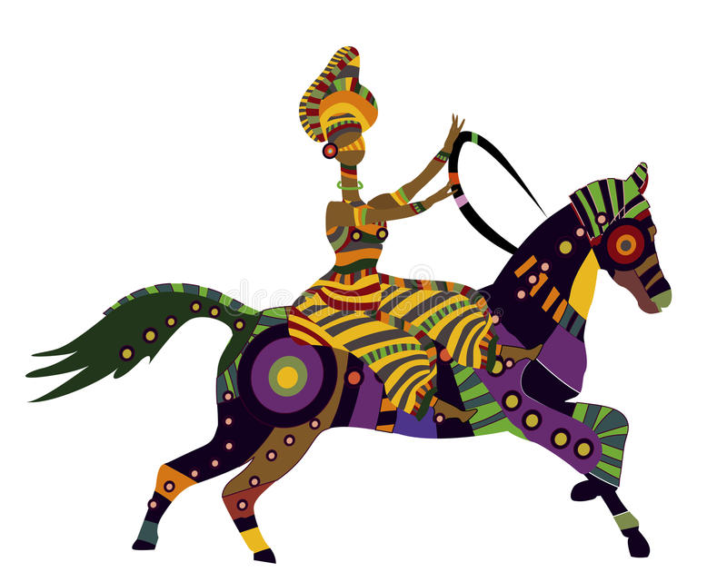Merry circus. Woman on horseback in the ethnic style on a white background vector illustration