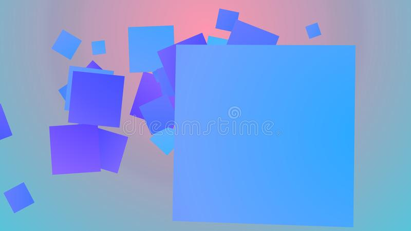 Colorful background from childish squares. A merry 3d illustration of spinning big and small squares of blue, violet and celeste colors frolicking joyfully in royalty free illustration