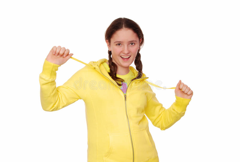 Merry girl is in yellow clothes. royalty free stock photo