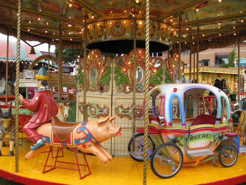 Merry-go-round. Merry go round on the fairground royalty free stock image