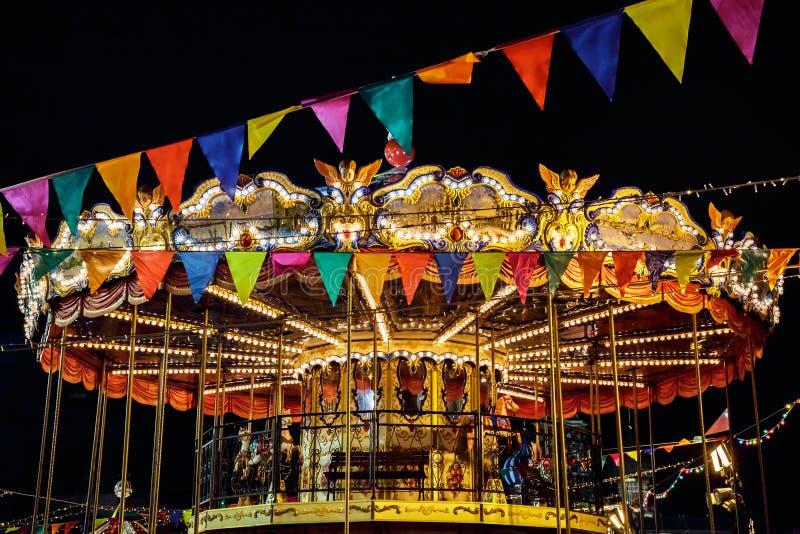 Merry-Go-Round carousel at night. royalty free stock photos
