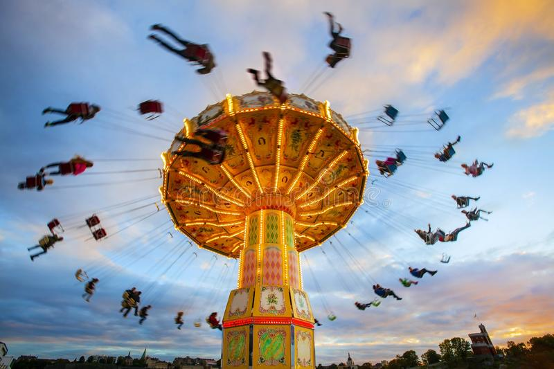 Merry-go-round in the dawn. In Sweden at dusk royalty free stock photography