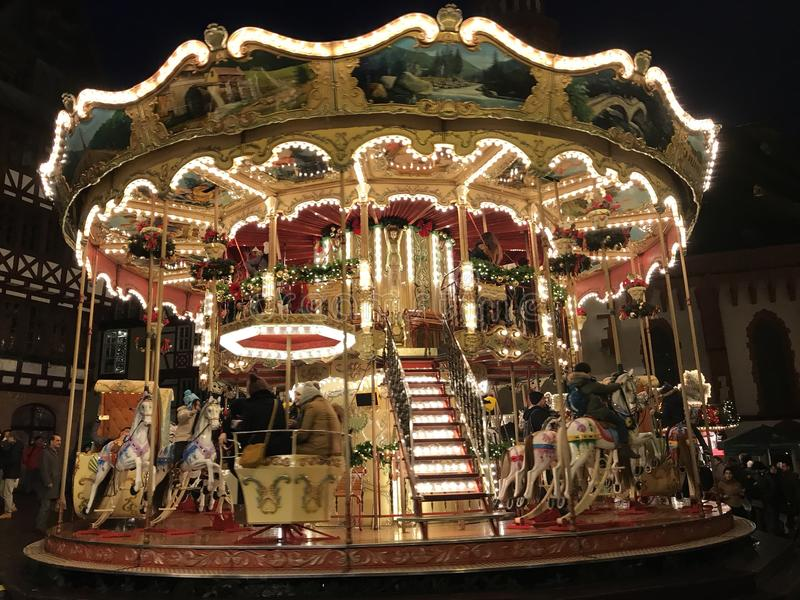 Merry-go-Round in Frankfurt Christmas-market royalty free stock photography