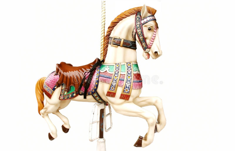 Merry-go-round horse. Isolated on white royalty free stock images