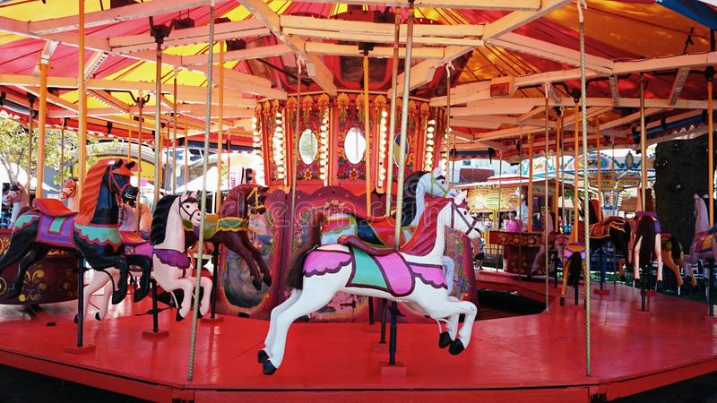 Merry Go Round Horses. Merry-go-round in The Entrance, New South Wales, Australia stock images