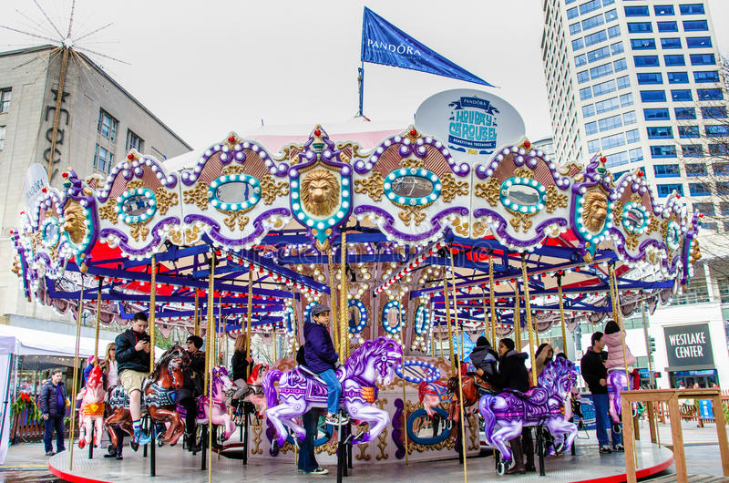 Merry-go-round in Seattle royalty free stock photos