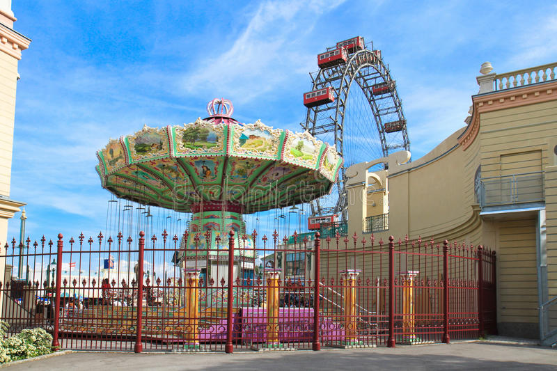 Merry-go-round spinning and Vienna Prater stock images