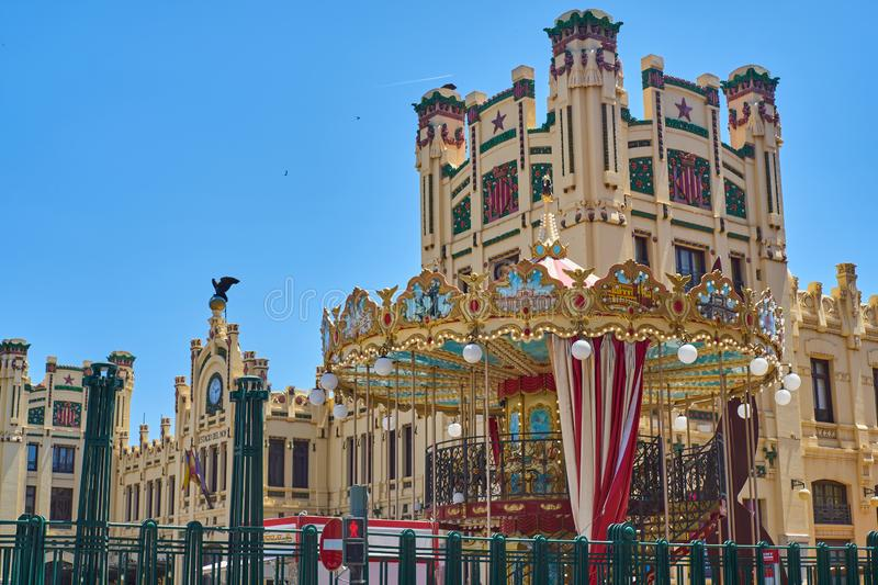 Merry-go-round in the train station of Valencia. Spain royalty free stock photo