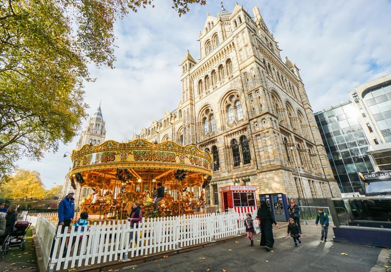 Merry go round winter festival for children activities at Natural History Museum stock image