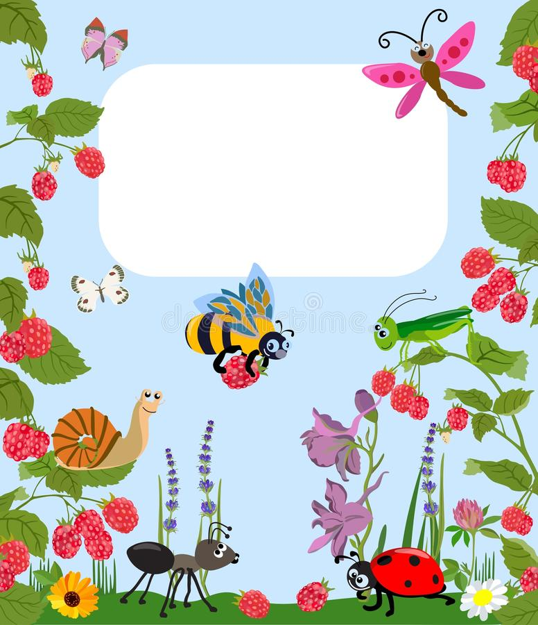 Merry insects Animal cartoon with berries and flowers. Vector illustration. stock illustration