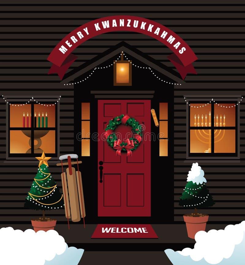 Merry Kwanzukkahmas (combination of Kwanzaa, Hanukkah and Christmas) front door stock illustration