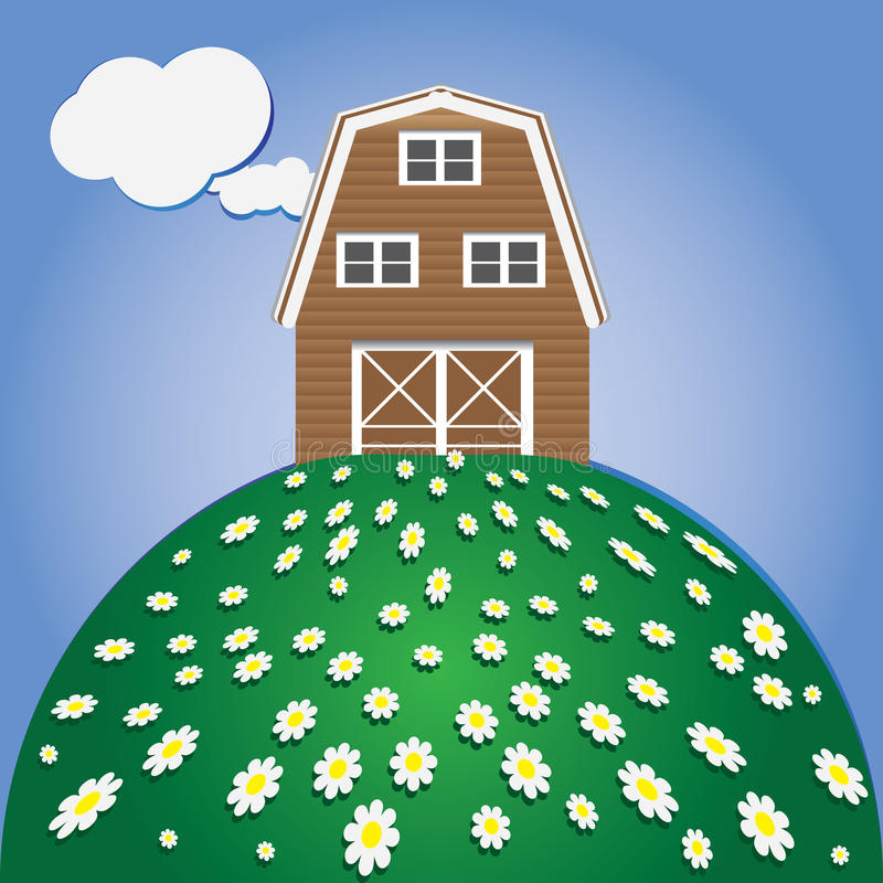 Merry lawn with daisies. A merry lawn with daisies and a rural barn royalty free illustration
