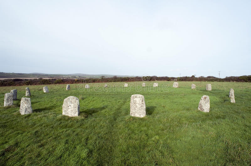 The Merry Maidens Stone Circle in Cornwall. One of the best preserved Neolithic circles in Cornwall with nineteen granite megaliths royalty free stock photos