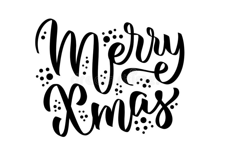 Merry X-mas- hand-written text, words, typography, calligraphy, hand-lettering. Congratulation on Christmas holiday. Vector in one color, for cutout, sticker royalty free illustration