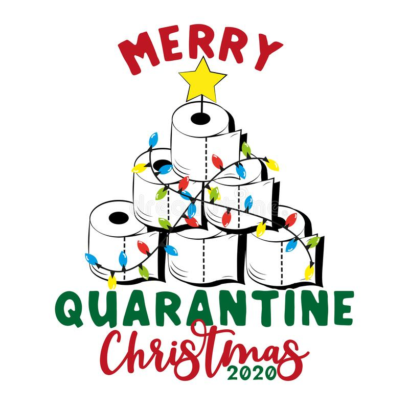 Free Merry Quarantine Christmas 2020-Funny Greeting Card For Christmas In Covid-19 Pandemic Self Isolated Period. Royalty Free Stock Image - 197586676