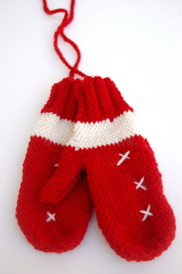 Merry Red and White Mittens royalty free stock images