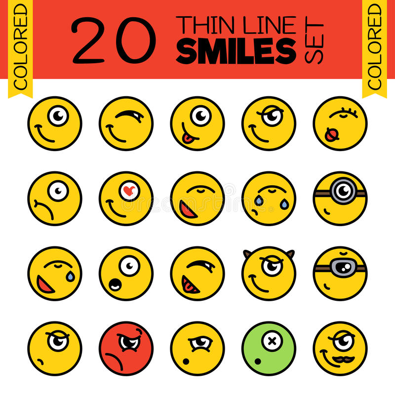 20 Merry smiles. A set of conceptual smiles. stock photography