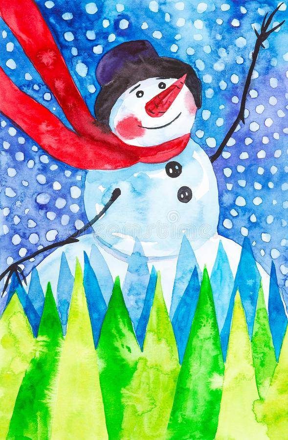 Merry snowman in red scarf and black hat in Christmas forest on the background of falling snow. New year holiday watercolor. Illustration royalty free stock photos