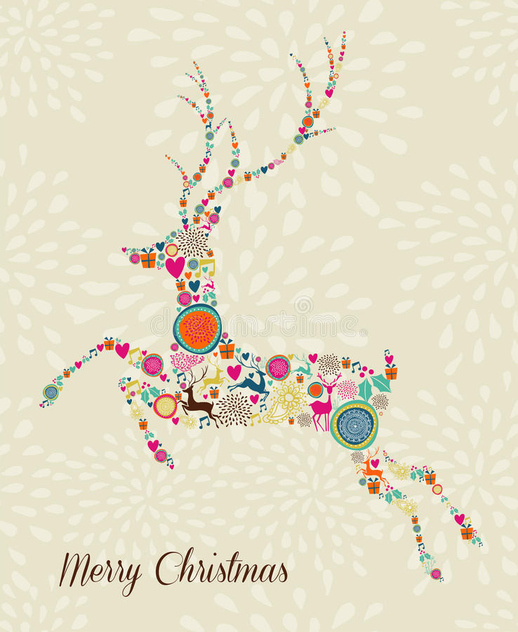 Merry Vintage christmas elements jumping reindeer stock illustration