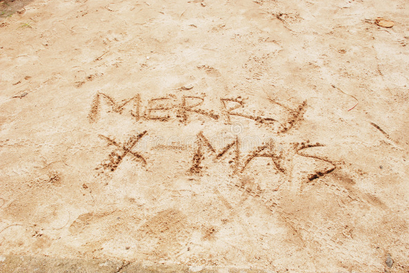 Download Merry X-mas Written On Beach Sand Royalty Free Stock Images - Image: 7319639