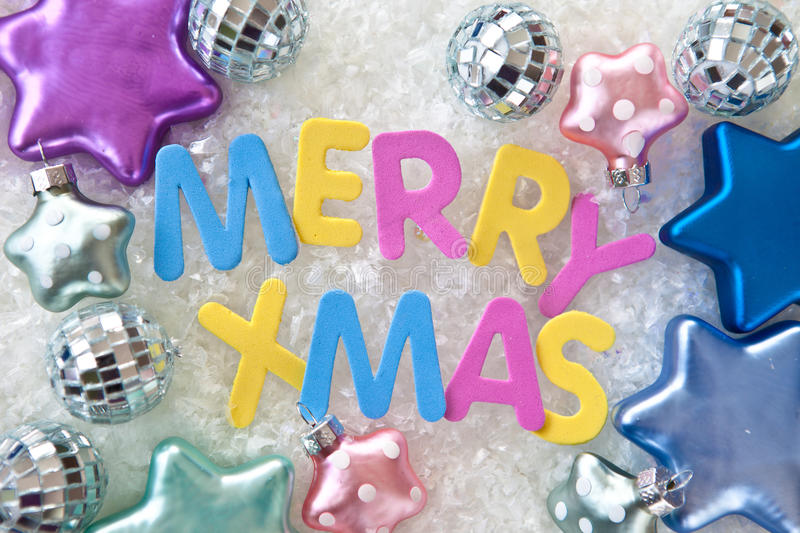 Merry Xmas. In colorful letters royalty free stock image