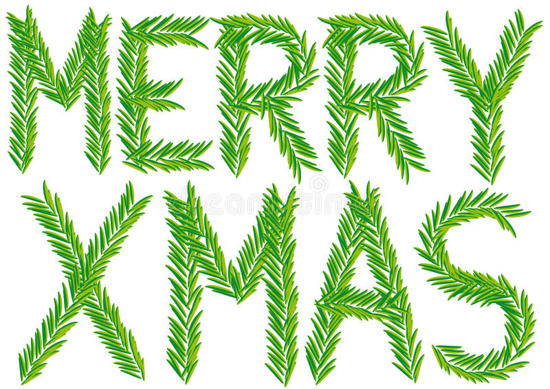 Merry xmas fir branch, vector stock illustration