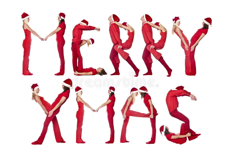 Download Merry Xmas Formed By Humans Stock Photo - Image: 11202188