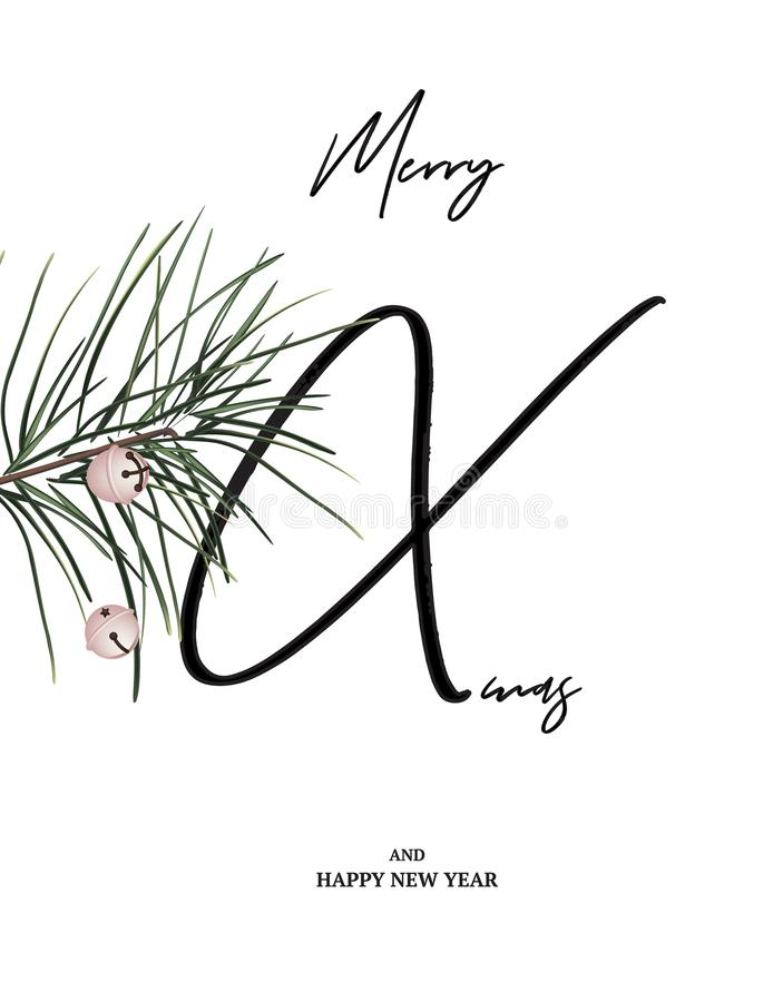Merry Xmas minimalist card with pine branch and jingle bells. Modern Christmas design, happy winter holidays greeting card vector illustration