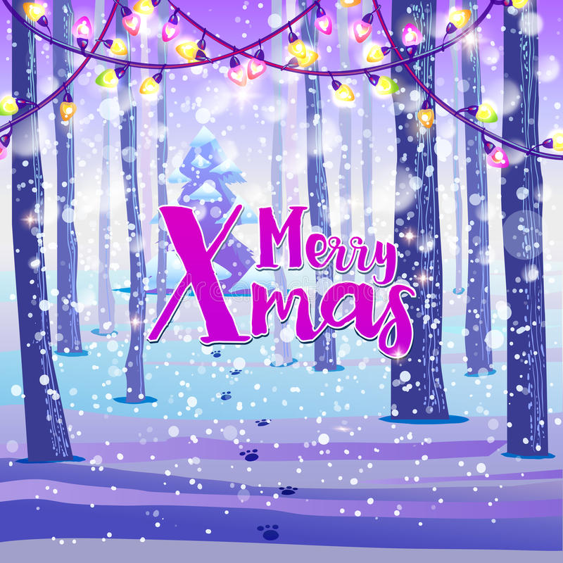 Merry Xmas on winter background. Merry Xmas hand lettering quote placed on snowy winter forest background with holidays lights. Vector art. Great design element stock illustration