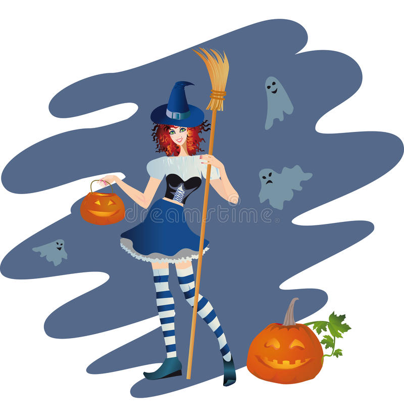 Merry young witch with a pumpkin stock illustration