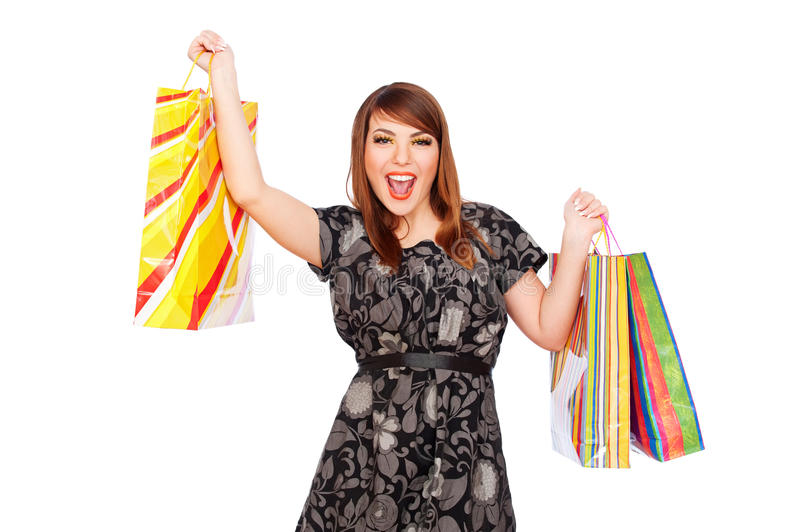 Download Merry Young Woman Holding Shopping Bags Stock Photography - Image: 18034362