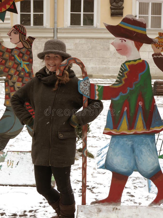 Merry Yule on the streets stock image