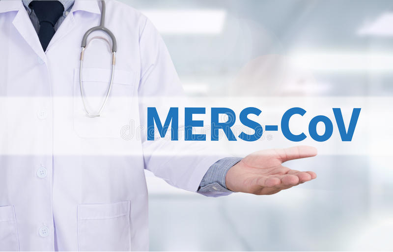 MERS-CoV. Medicine doctor hand working stock images
