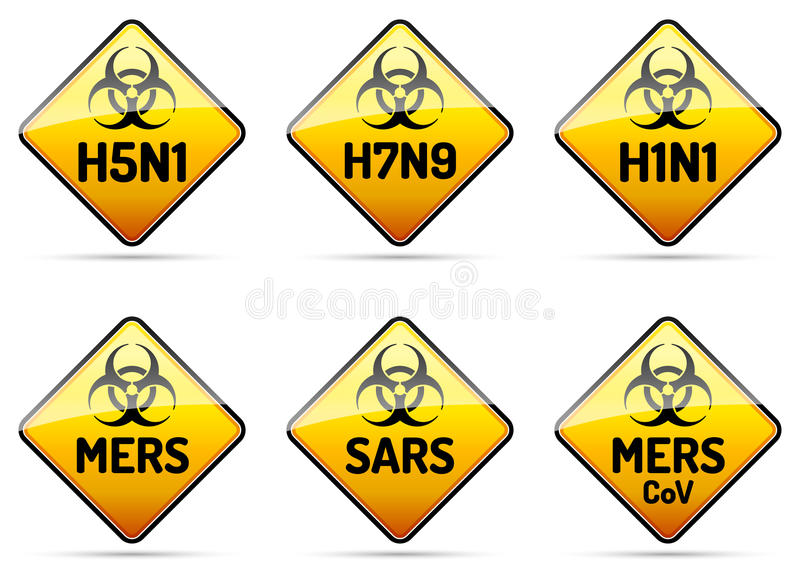 MERS, SARS, sinal do vírus do Biohazard H5N1 ilustração do vetor