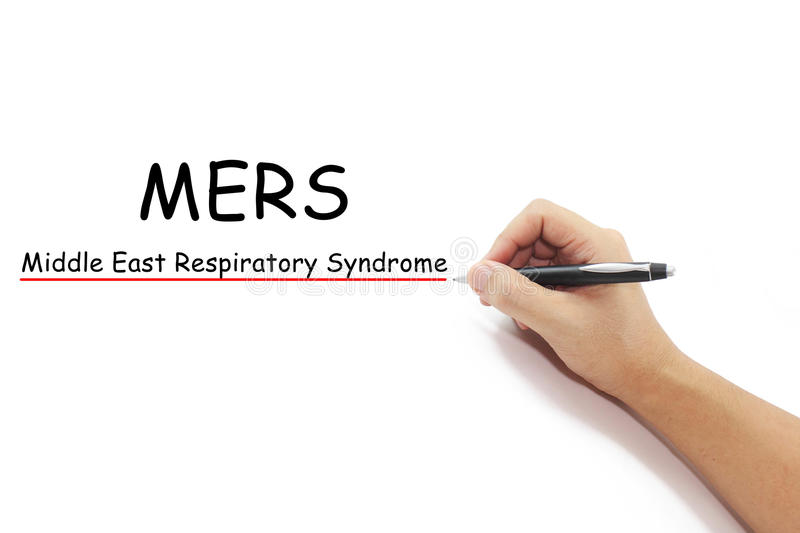 MERS text with hand writing. Hand with pen writing MERS Middle East Respiratory Syndrome coronavirus on pure white background stock photo