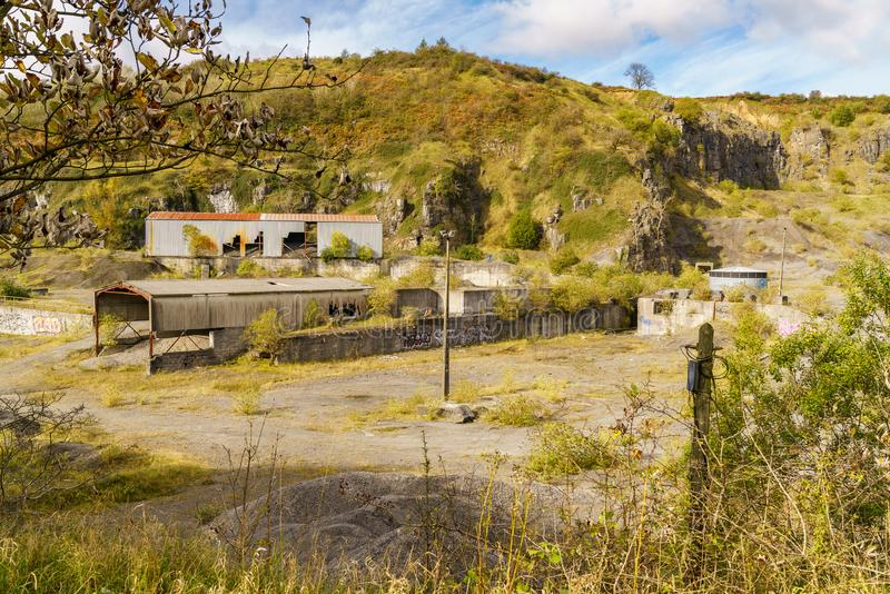 Vaynor Quarry, Merthyr Tydfil, Mid Glamorgan, Wales, UK. Merthyr Tydfil, Mid Glamorgan, Wales, UK - October 06, 2017: The remains of the abandoned Vaynor Quarry royalty free stock image