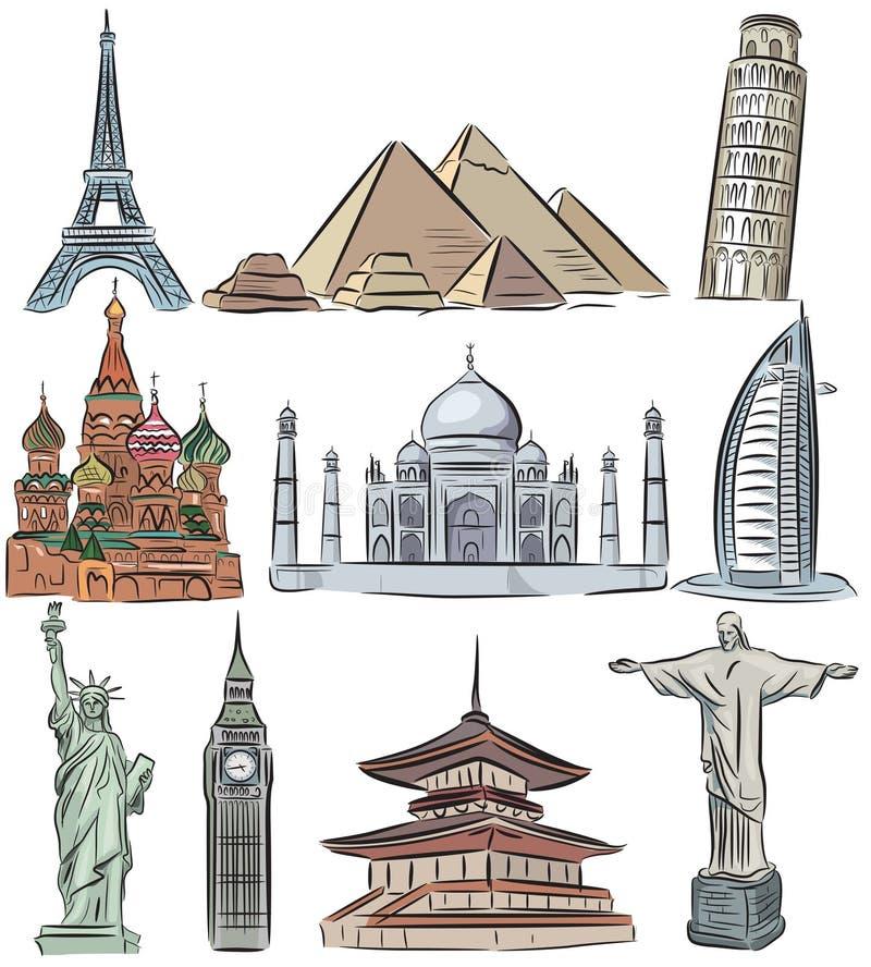 Merveilles architecturales de la collection du monde illustration stock