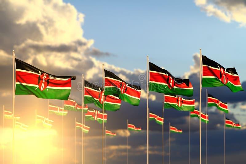 Merveilleux beaucoup de drapeaux du Kenya sur le coucher du soleil placé dans la rangée avec le foyer mou et l'espace pour votre  illustration libre de droits