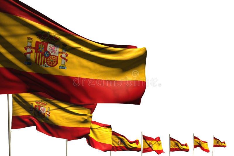 Merveilleux beaucoup de drapeaux de l'Espagne ont placé la diagonale d'isolement sur le blanc avec l'espace pour le texte - n'imp illustration libre de droits