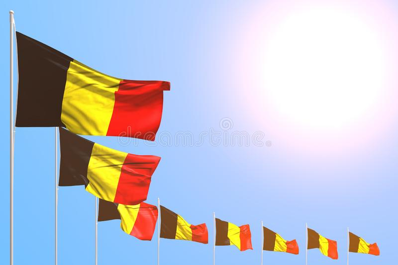 Merveilleux beaucoup de drapeaux de la Belgique ont placé diagonal sur le ciel bleu avec l'endroit pour votre contenu - n'importe illustration stock