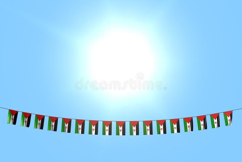 Merveilleux beaucoup de drapeaux ou de bannières de la Sahara occidental accroche sur la ficelle sur le fond de ciel bleu - n'imp illustration libre de droits