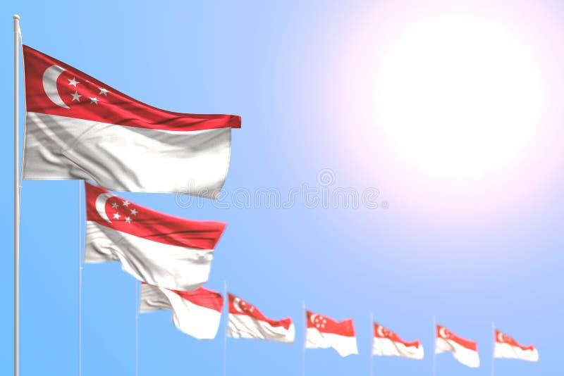 Merveilleux beaucoup de drapeaux de Singapour ont plac? diagonal avec le foyer et l'espace libre mous pour votre texte - n'import illustration stock