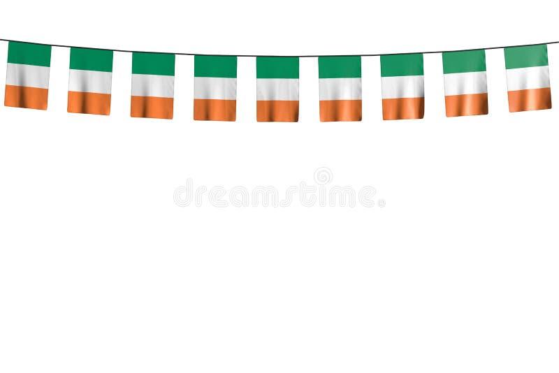 Merveilleux toute illustration du drapeau 3d de festin - beaucoup de drapeaux ou de bannières de l'Irlande accrochant sur la cord illustration libre de droits