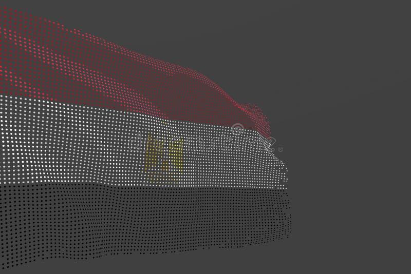 Merveilleux toute illustration du drapeau 3d de festin - la photo numérique du drapeau d'isolement parEgypte fait de points rouge illustration de vecteur