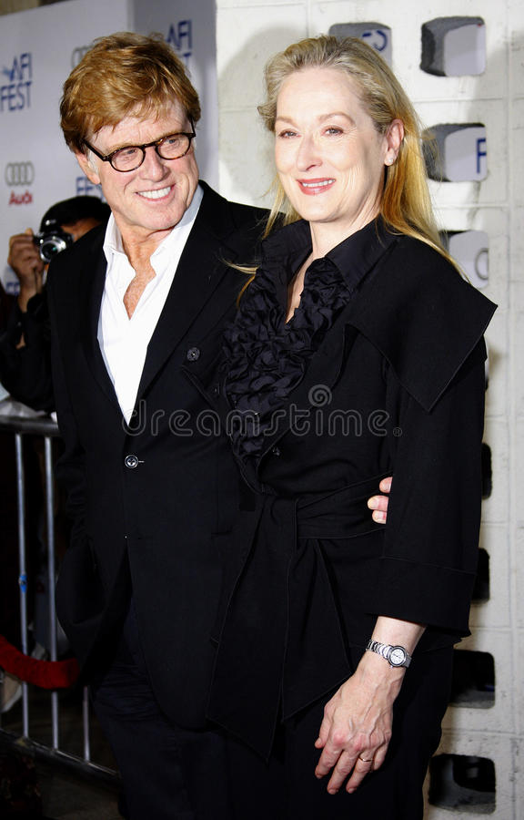 Meryl Streep and Robert Redford. Robert Redford and Meryl Streep attend the AFI Fest Opening Night Gala Premiere of Lions for Lambs held at the ArcLight Theater stock photos