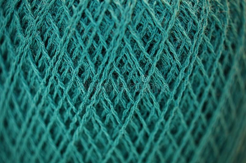 Merynosy Karzą grzywną przędzy teksturę w cyraneczka kolorze Makro- obrazy stock