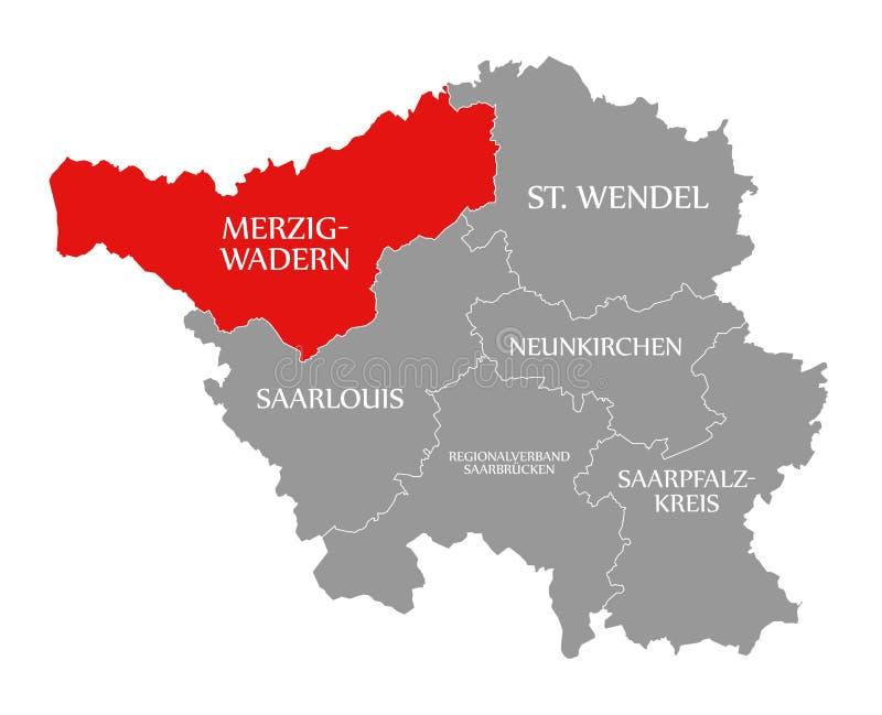 Merzig-Wadern czerwień podkreślająca w mapie Saarland Niemcy DE ilustracja wektor