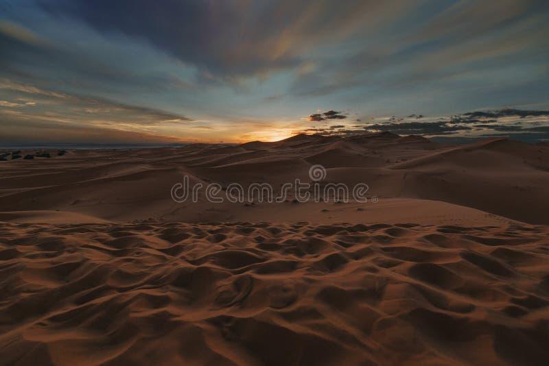 Merzouga-Sonnenuntergang 1 stockbild